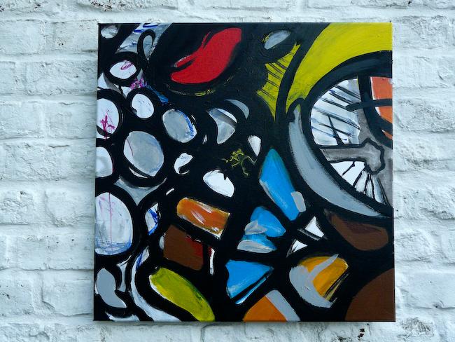 Behind the pixel S1-4    Acrylic on canvas 50x50cm  © Aimbé 2011
